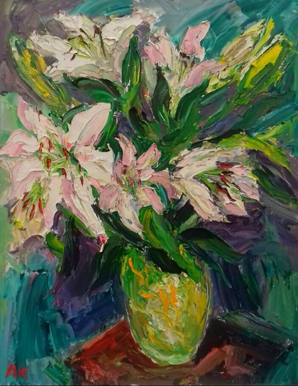Lillies in a Green Vase