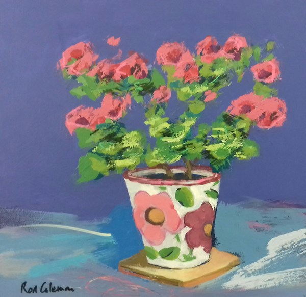 Pink Flowers in a floral Pot