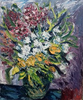 Mixed Flowers in Green Vase (1)